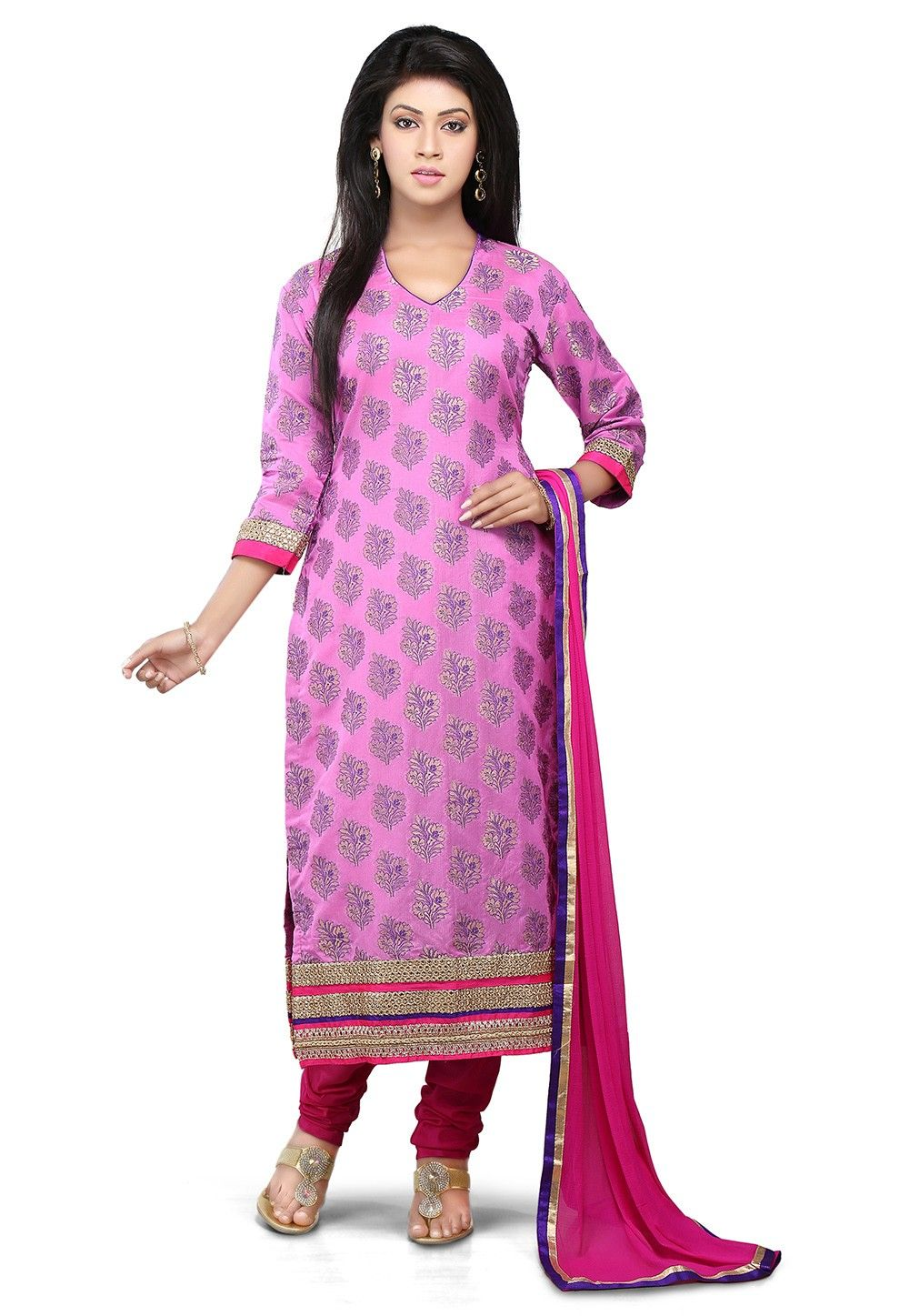 Woven Straight Cut Suit in Pink
