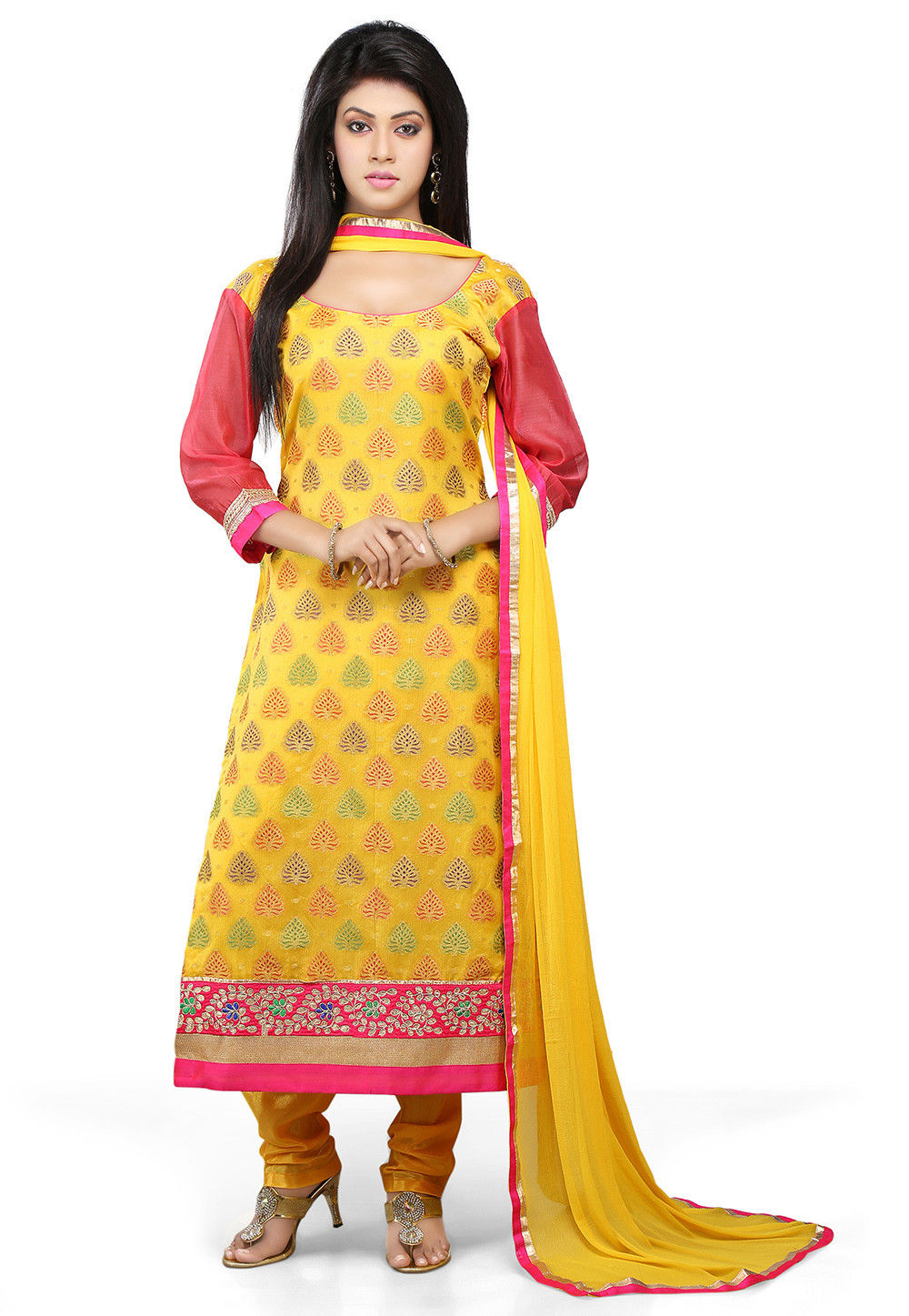 Straight Cut Suit In Yellow And Coral