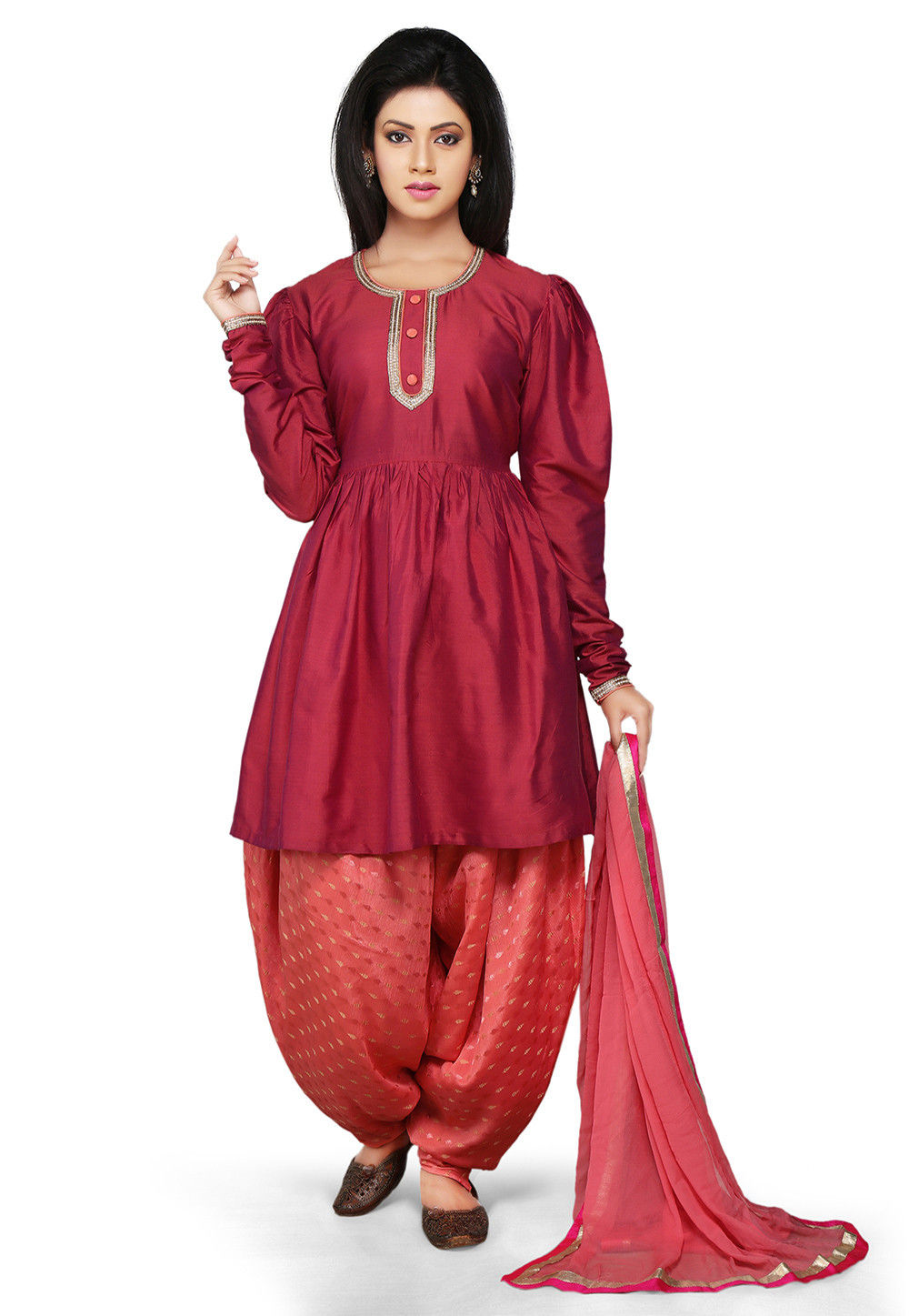 Dark Old Rose Cotton Silk readymade Flared Kameez with Dhoti Pant
