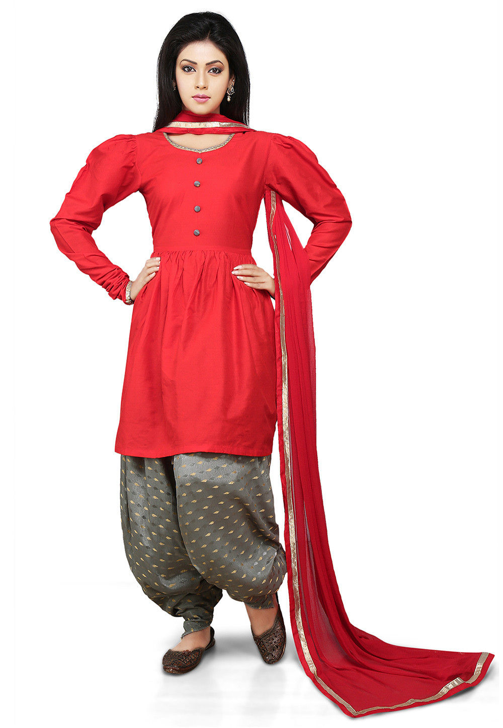 A Line Suit Cotton Silk In Red