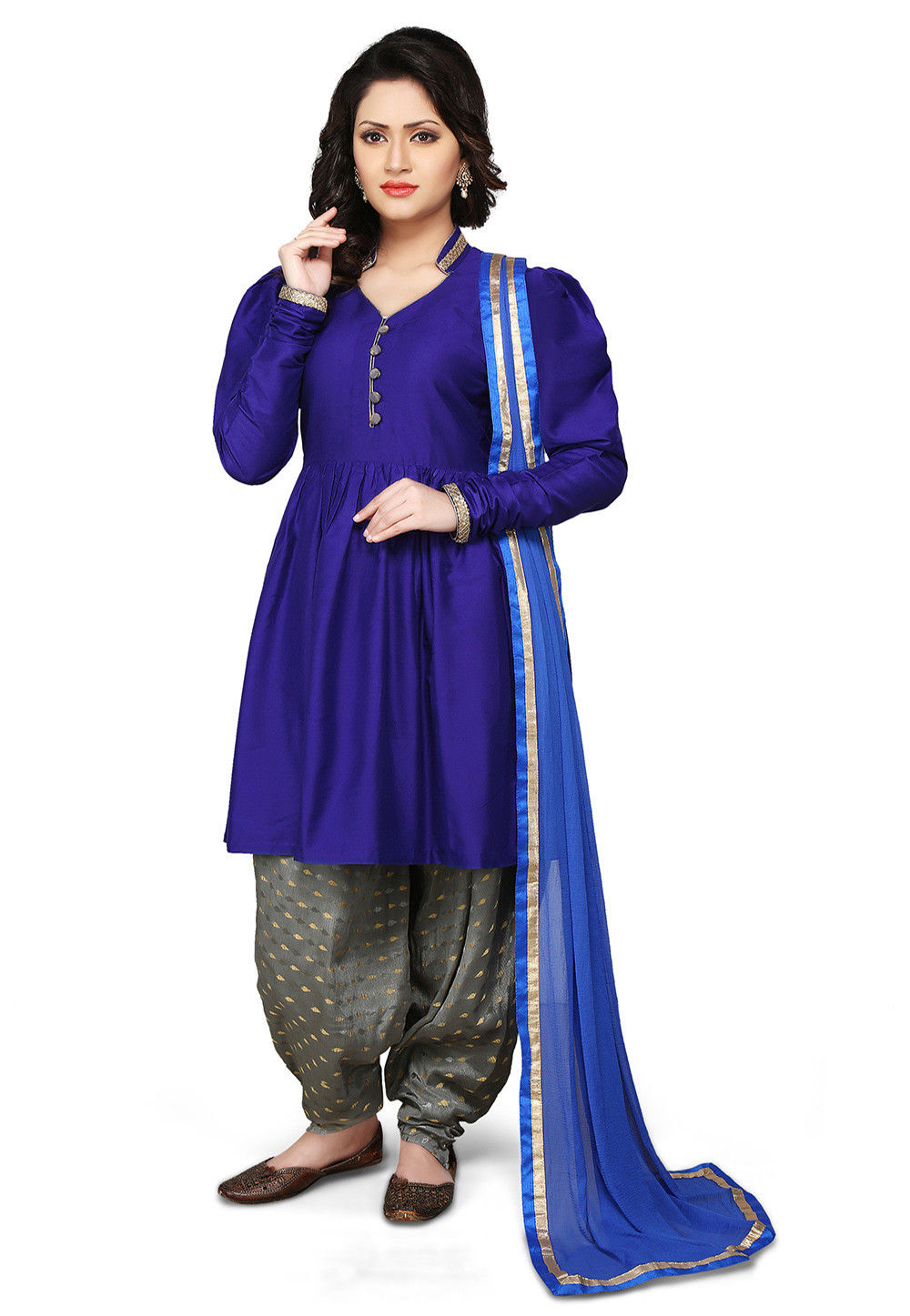 Plain Cotton Silk Punjabi Suit in Royal Blue