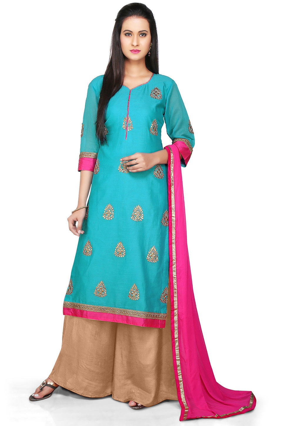 Embroidered Chanderi Cotton Pakistani Suit in Blue