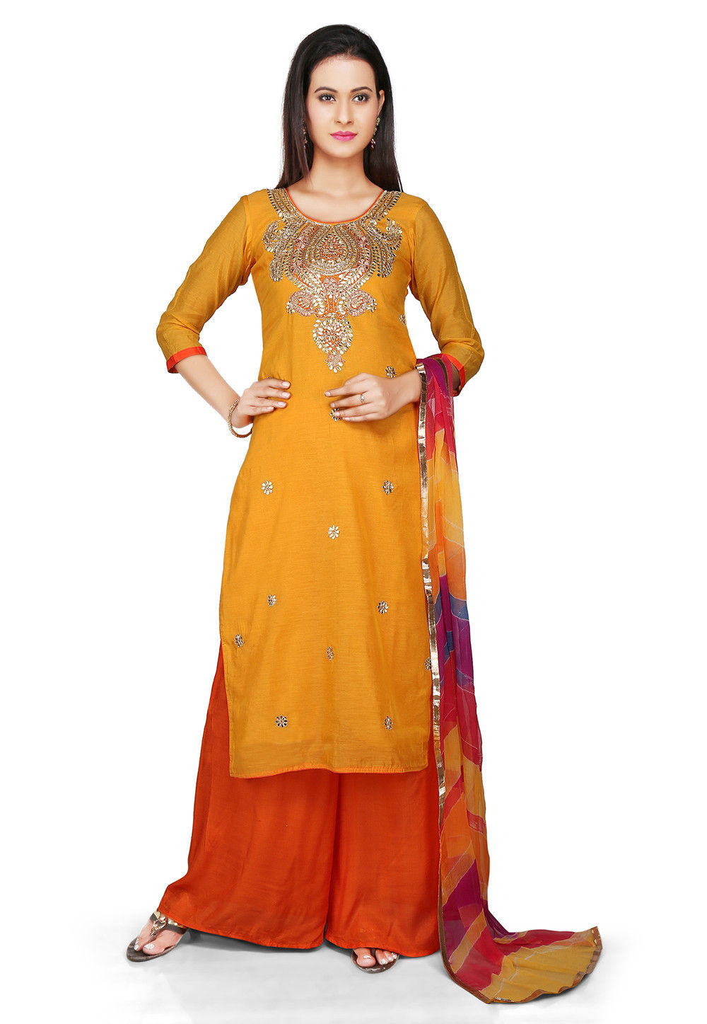 Embroidered Chanderi Cotton Pakistani Suit in Mustard