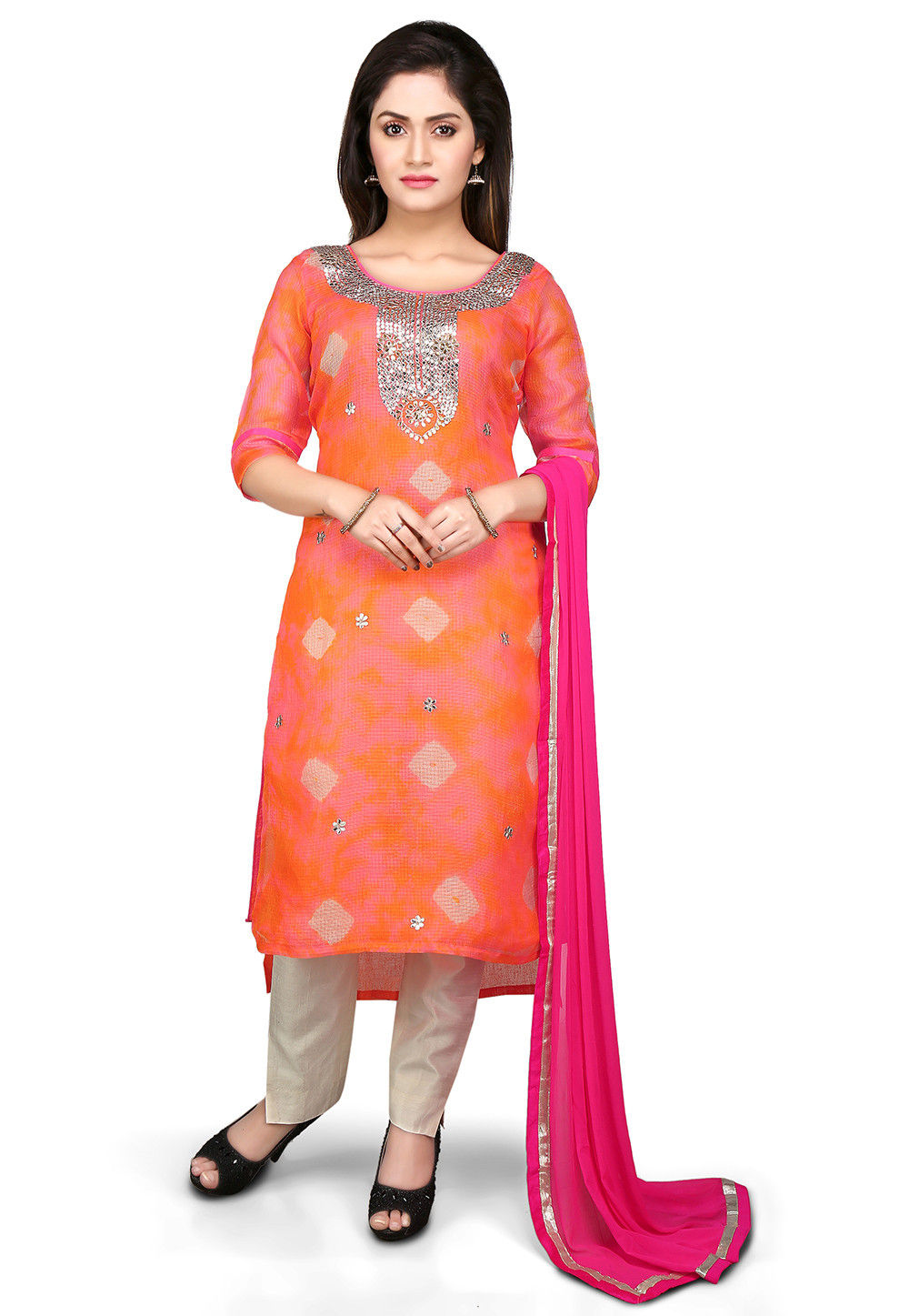 Embroidered High Low Straight Cut Pure Kota Silk Suit in Orange