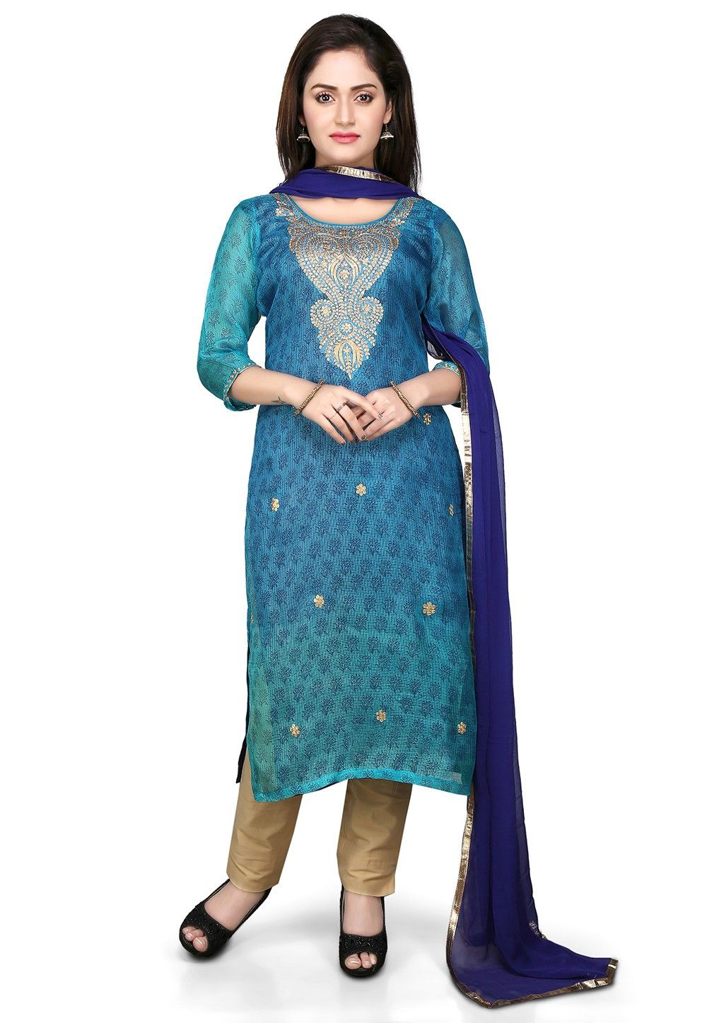 Embroidered Straight Cut Pure Kota Silk Suit in Blue