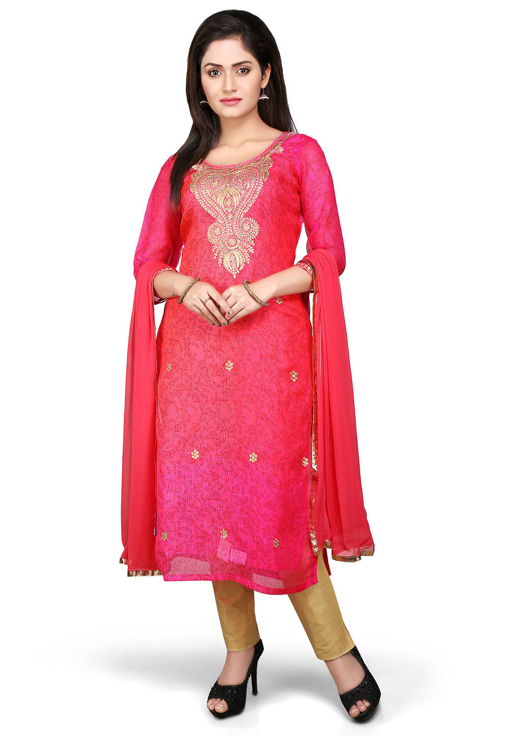 Embroidered Straight Cut Pure Kota Silk Suit in Fuchsia