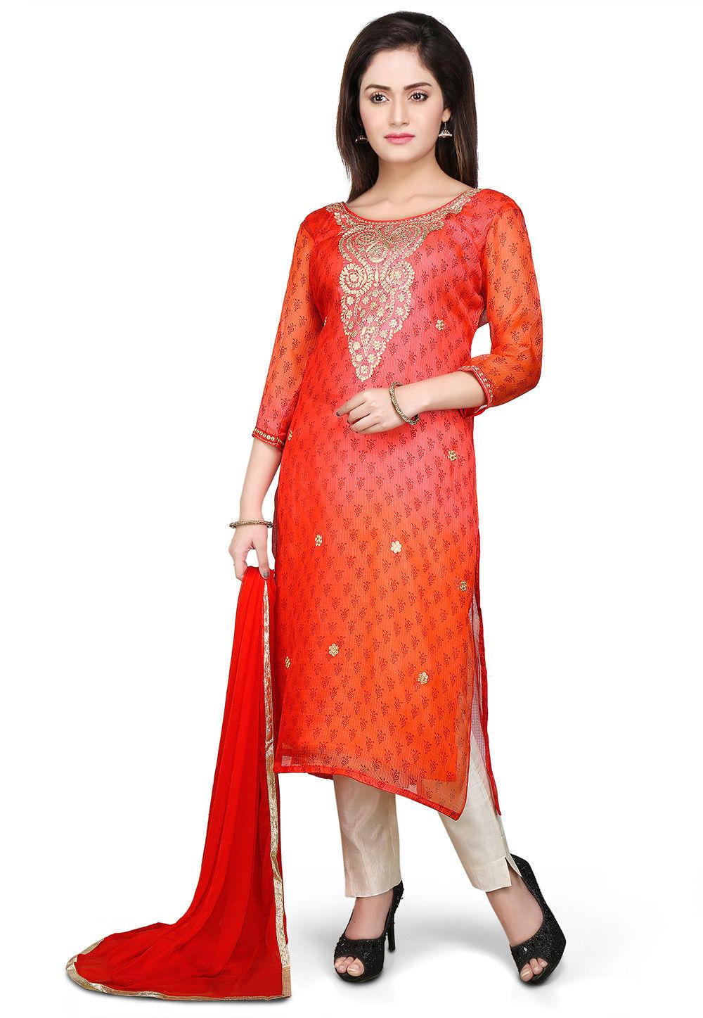 Embroidered Straight Cut Pure Kota Silk Suit in Orange