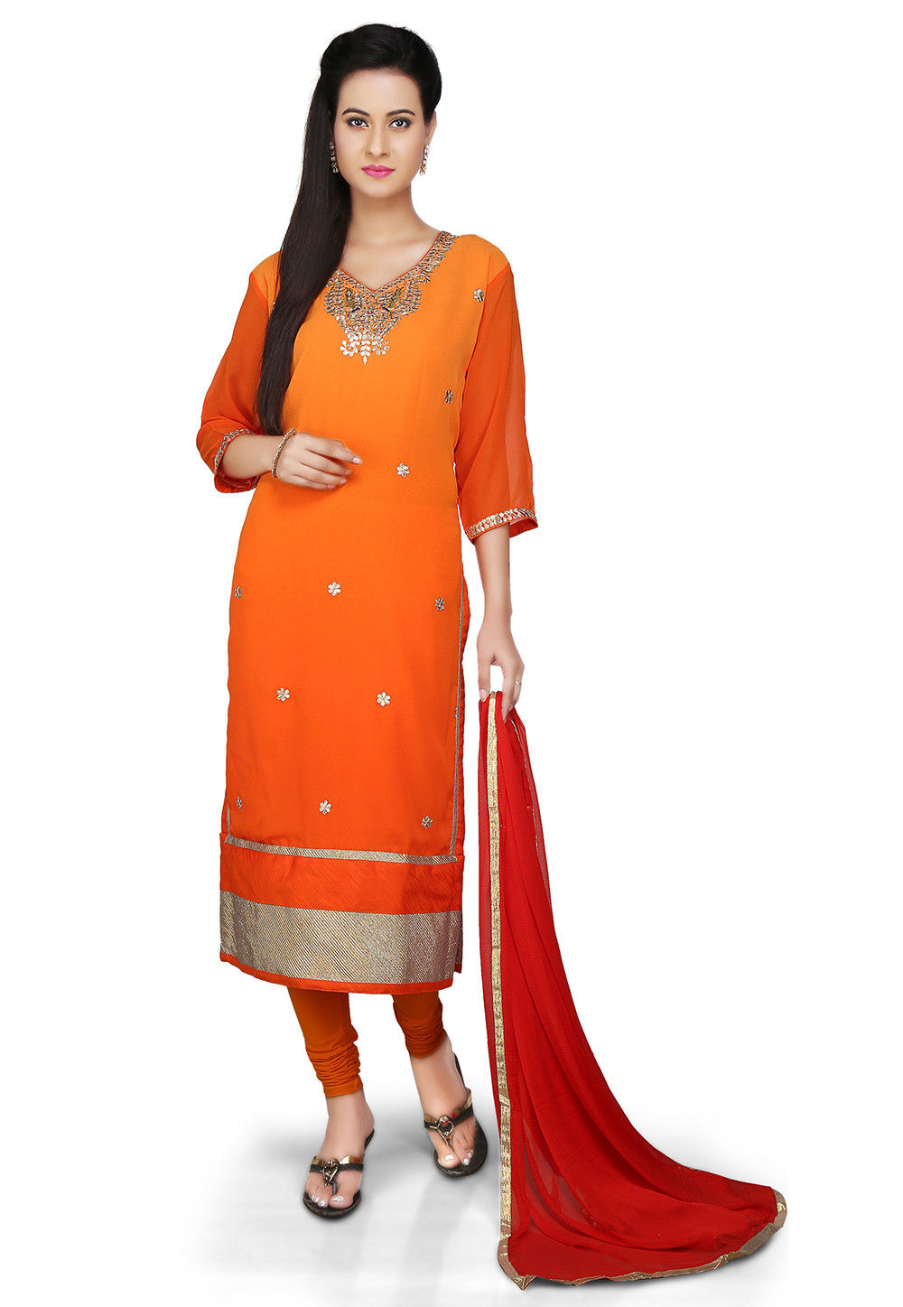 Embroidered Straight Cut Georgette Suit in Orange