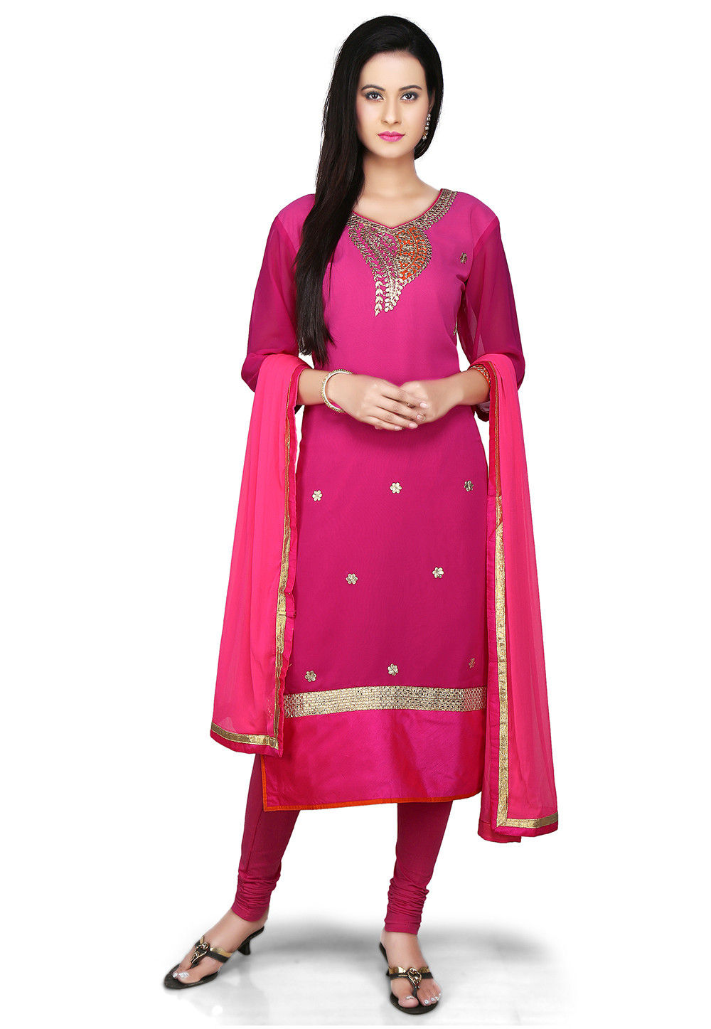 Embroidered Straight Cut Georgette Suit in Fuchsia