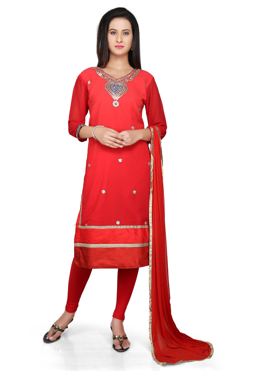 Embroidered Straight Cut Georgette Suit in Red