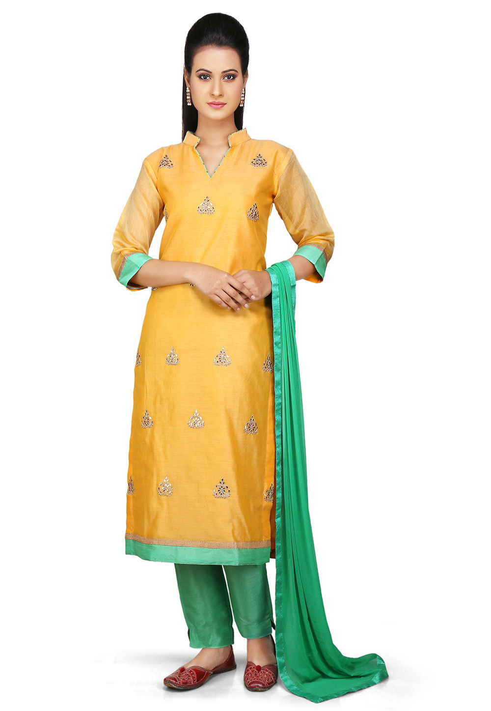 Embroidered Straight Cut Chanderi Cotton Suit in Yellow