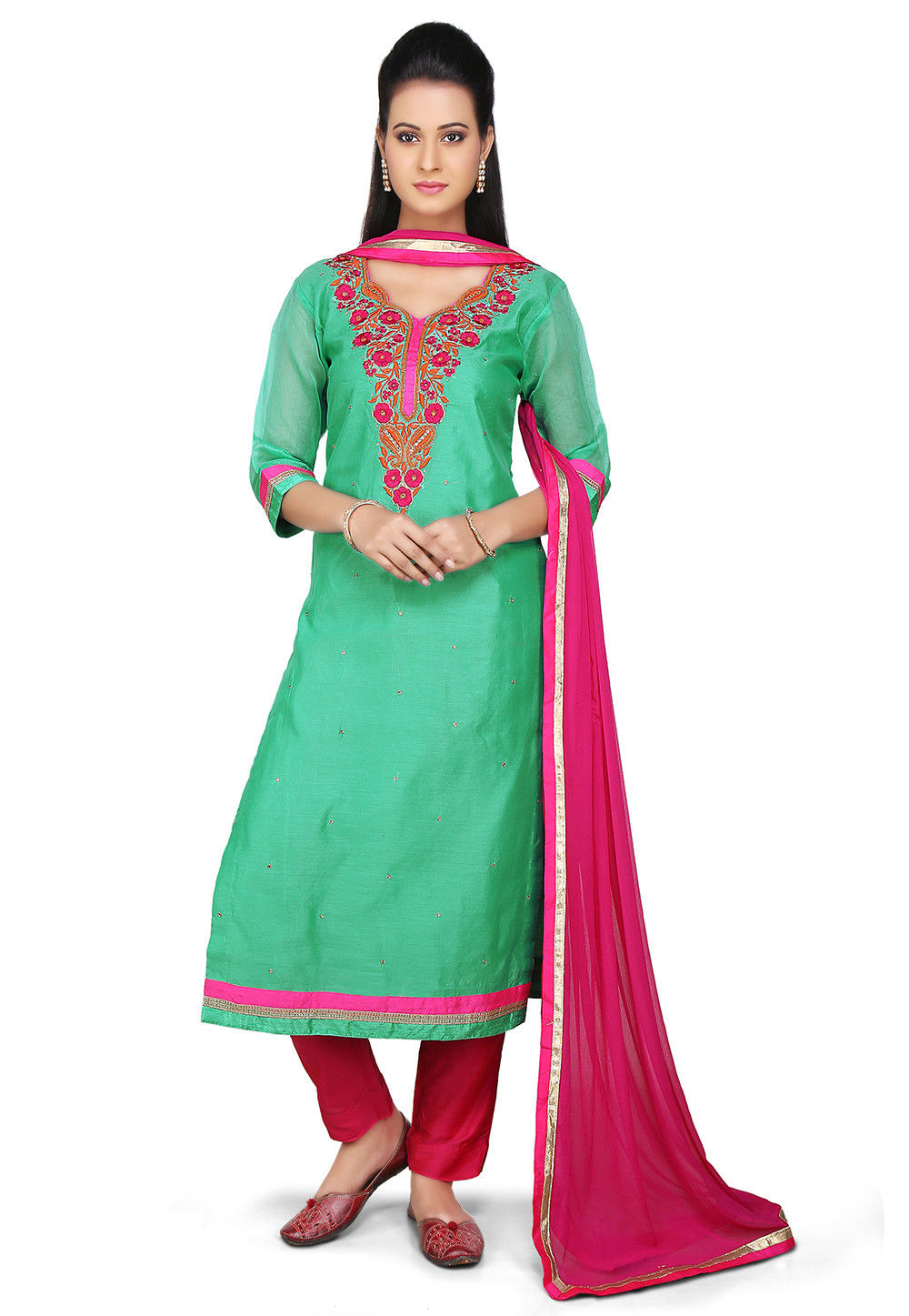 Embroidered Straight Cut Chanderi Cotton Suit in Teal Green