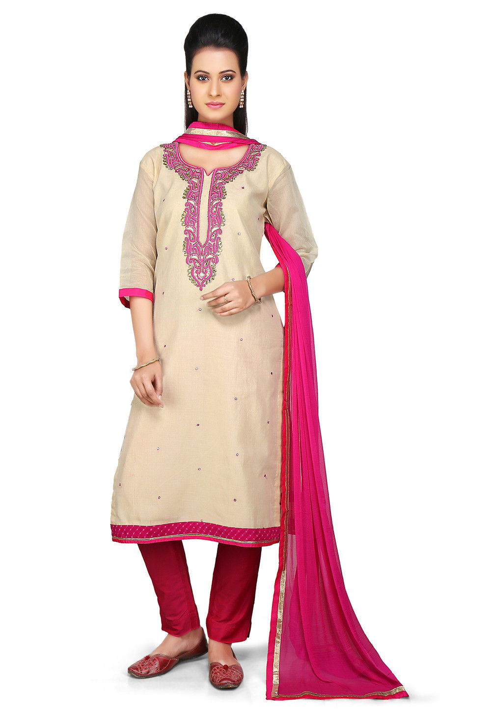 Embroidered Straight Cut Chanderi Cotton Suit in Beige