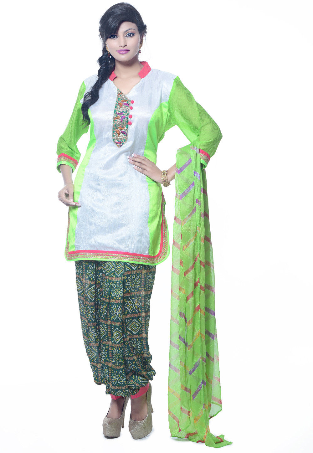 Plain Dupion Silk Punjabi Suit in White