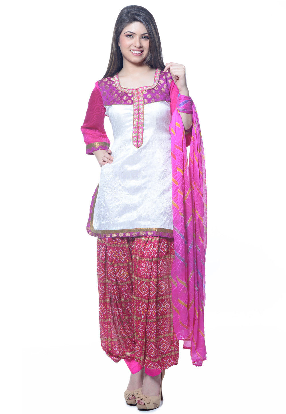 Printed Dupion Silk Punjabi Suit in White
