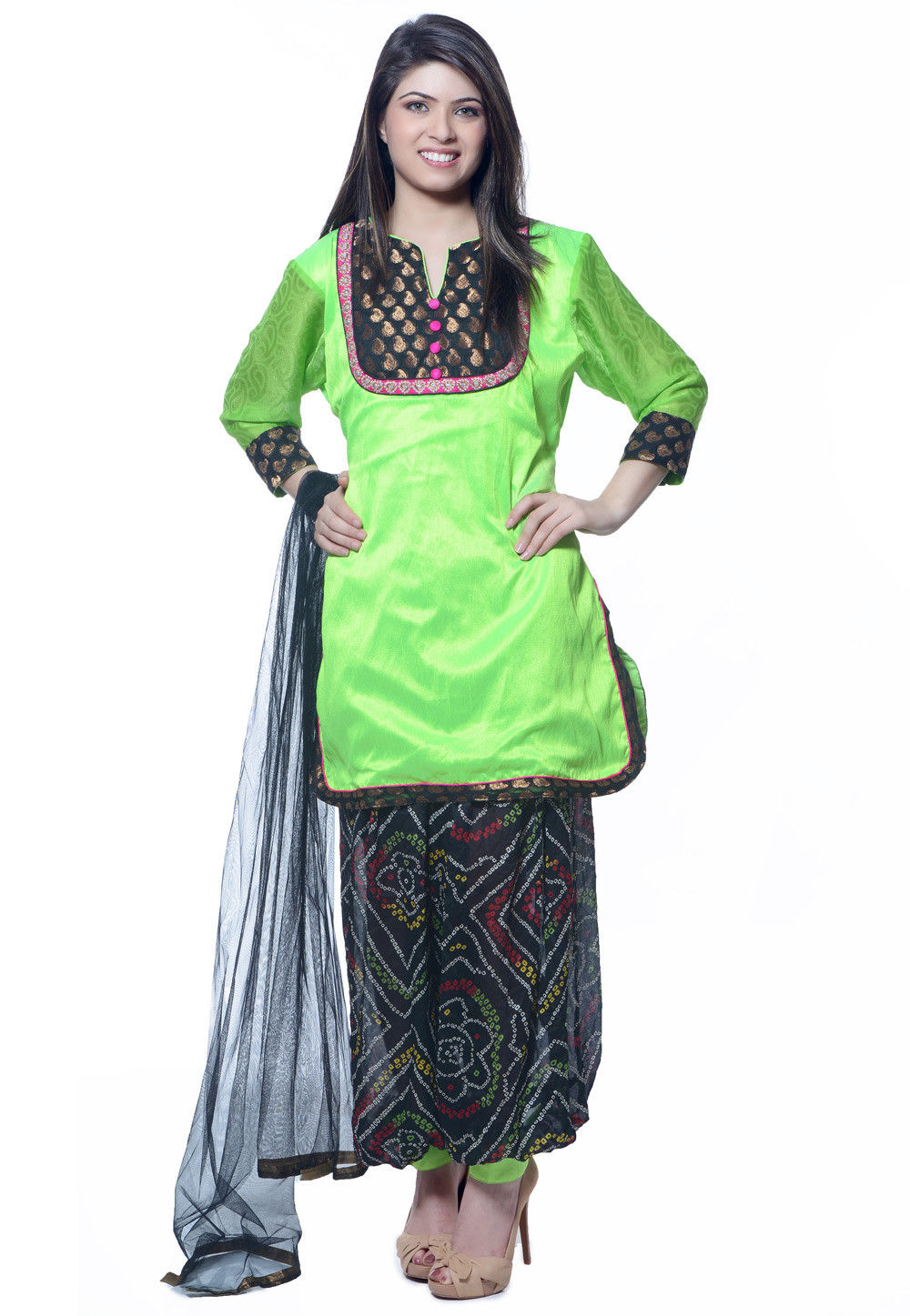 Plain Dupion Silk Punjabi Suit in Green