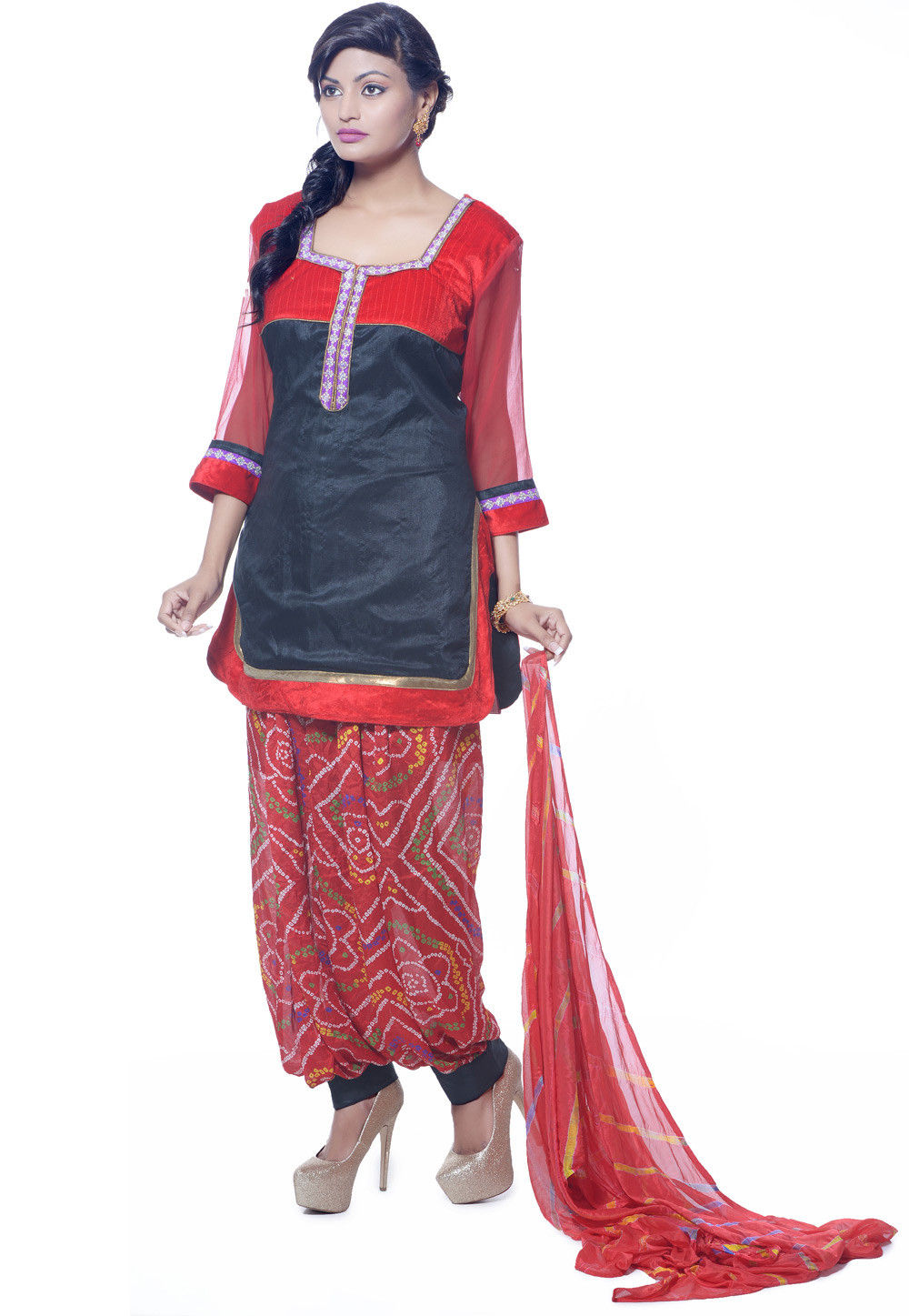 Embroidered Dupion Silk Punjabi Suit in Black