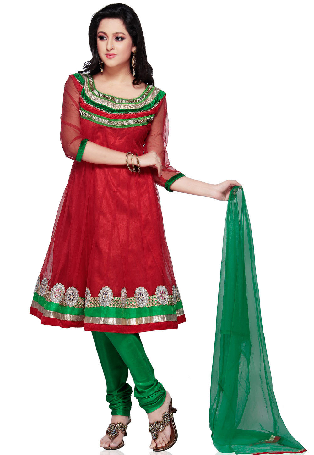 Embroidered Net Anarkali Suit in Red