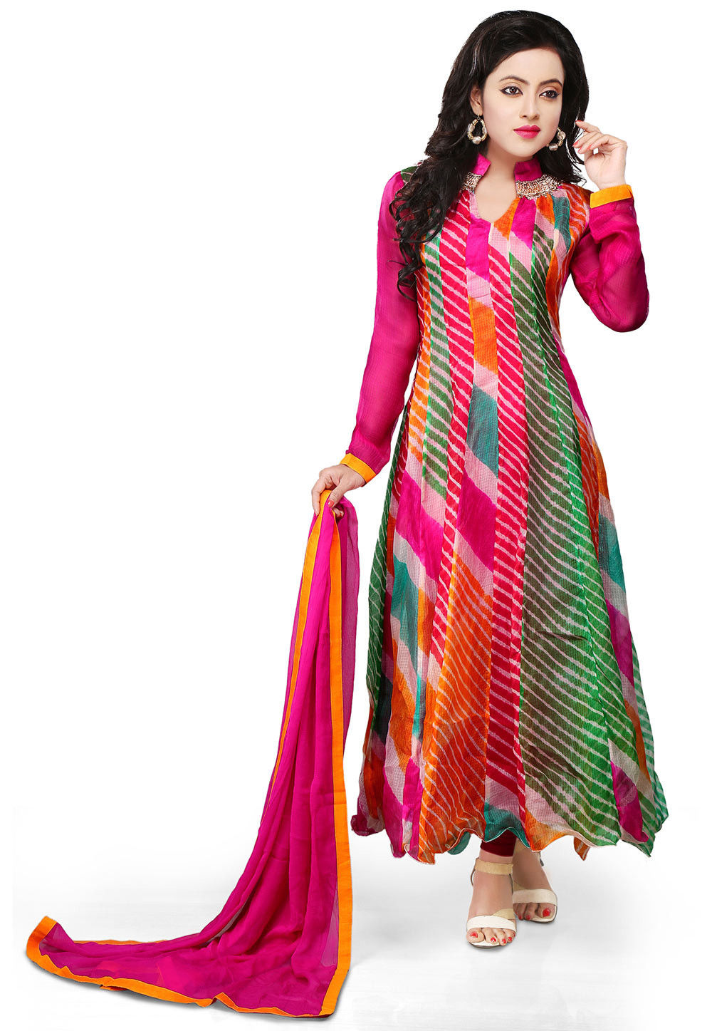 Printed Pure Kota Tissue Anarkali Suit in Multicolor