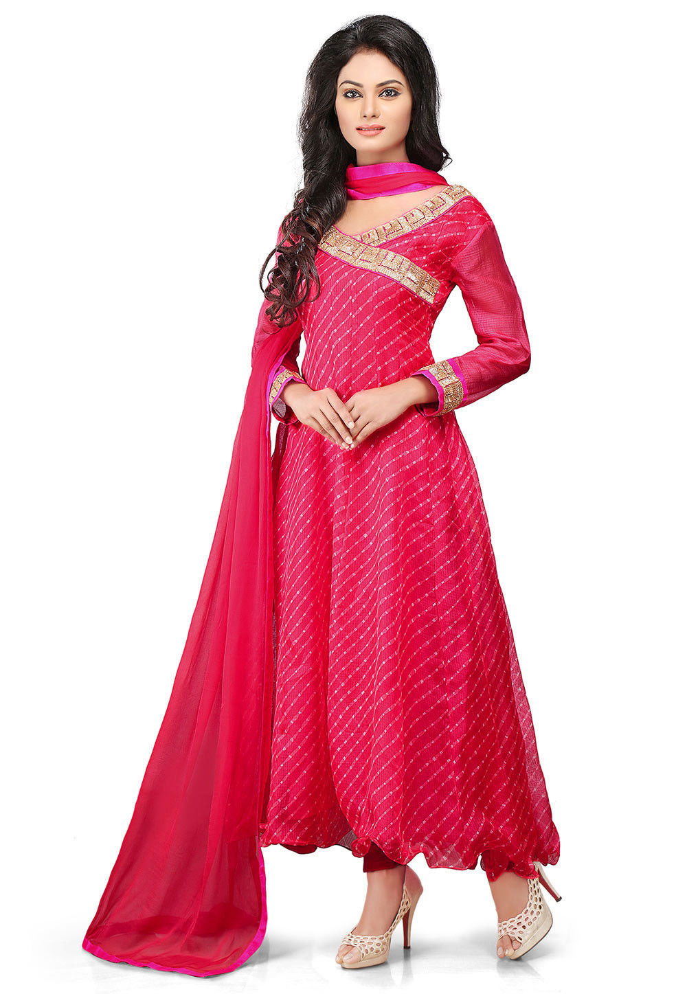 Printed Pure Kota Tissue Anarkali Style Suit in Fuchsia