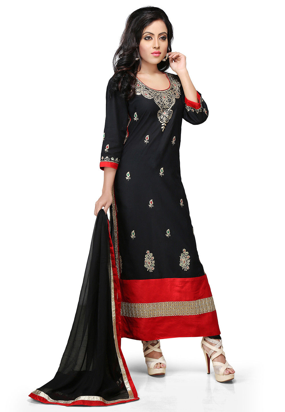 Embroidered Cotton Straight Cut Suit in Black