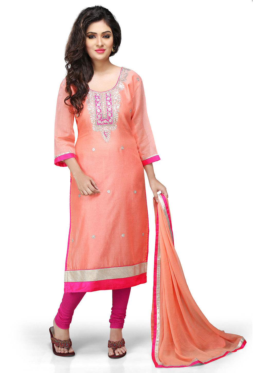 Embroidered Cotton Chanderi Straight Cut Suit in Peach