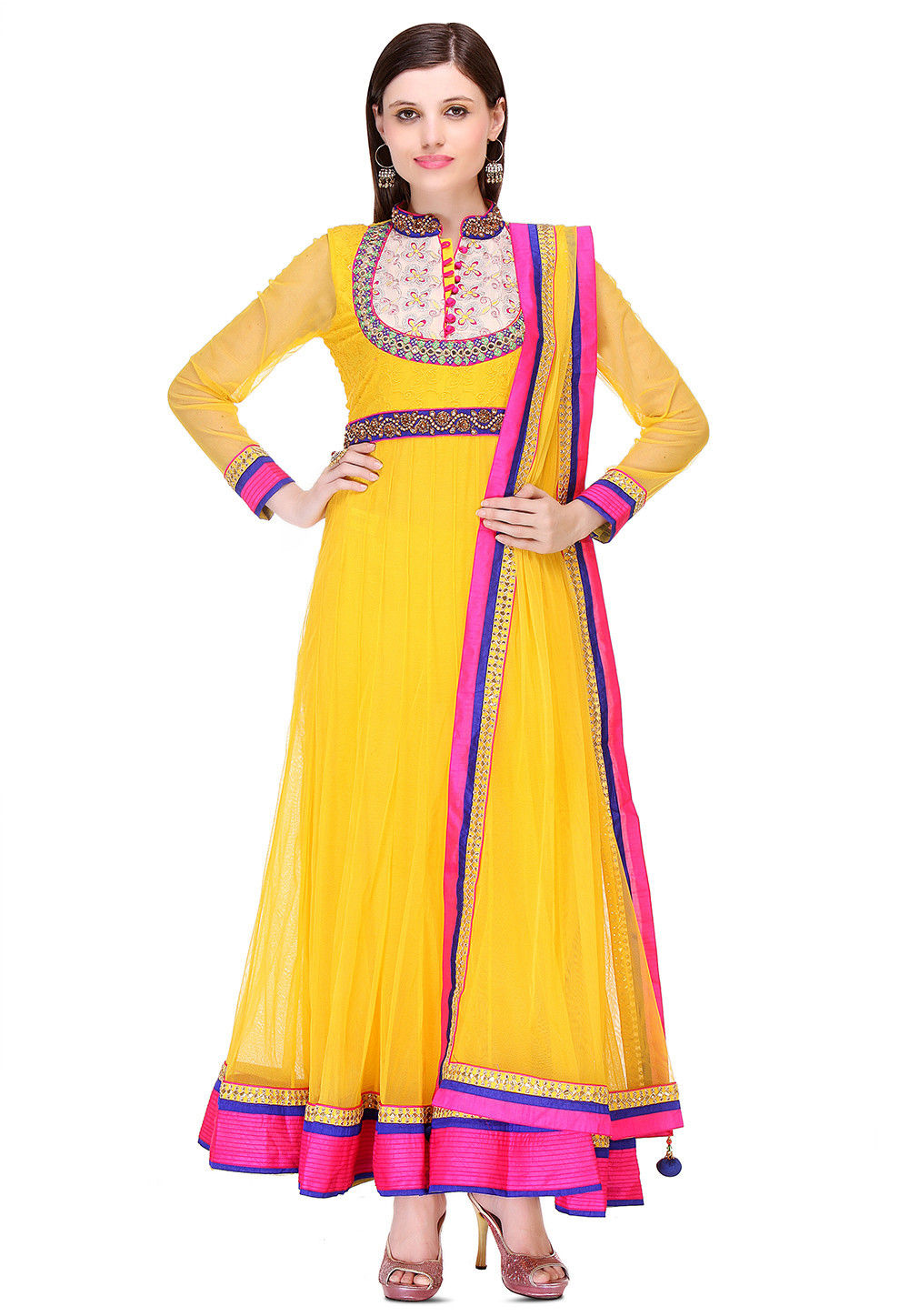 Embroidered Net Abaya Style Suit in Yellow
