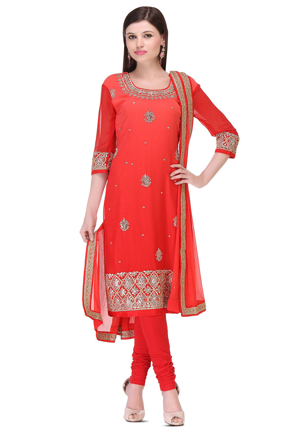 Embroidered Georgette Straight Cut Suit in Ombre Red