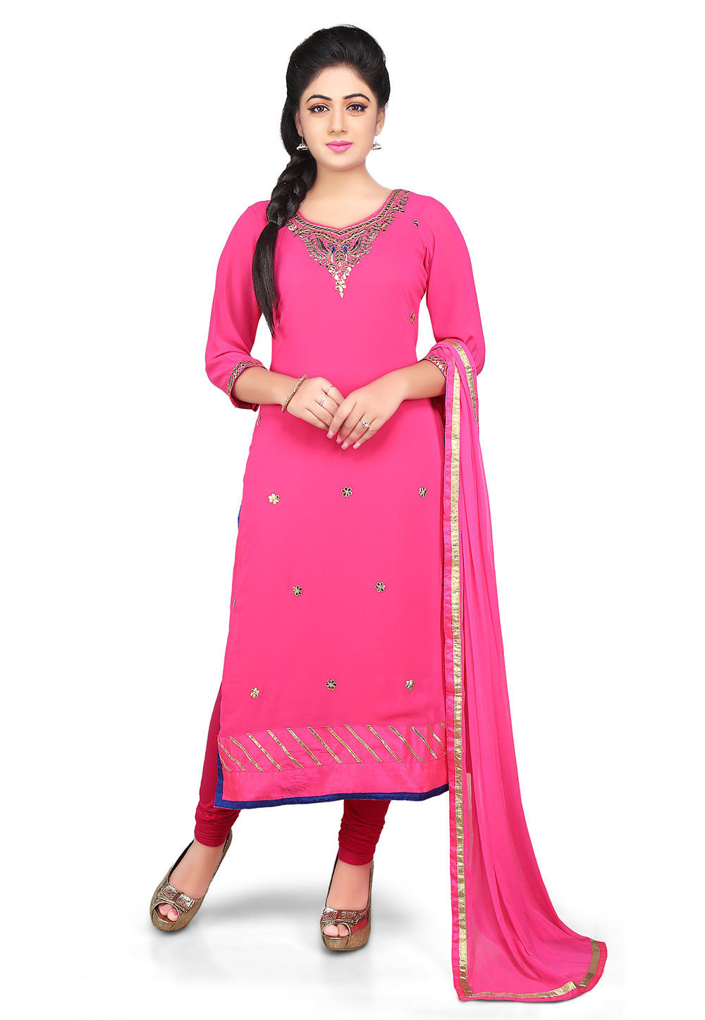 Embroidered Georgette Straight Cut Suit in Fuchsia