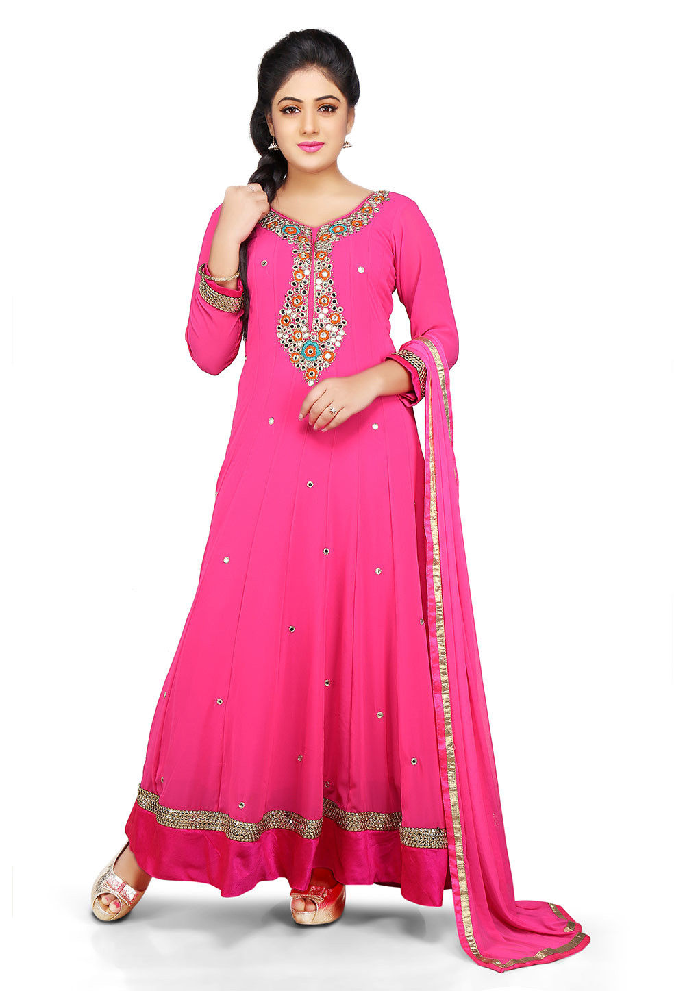 Embroidered Georgette Abaya Style Suit in Fuchsia