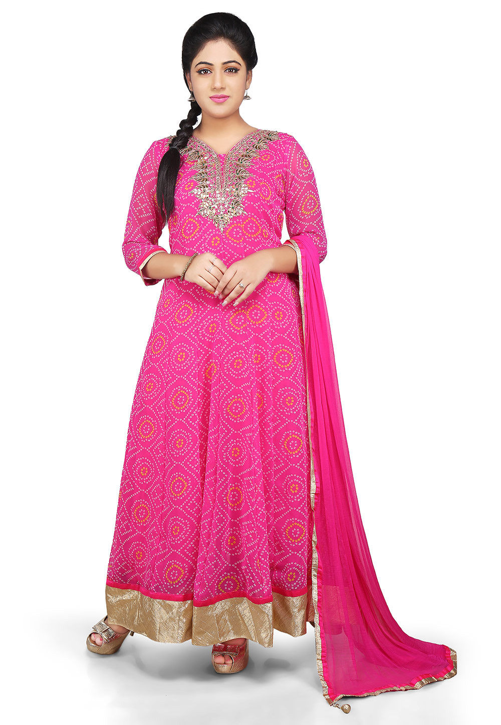 Gota Patti Embroidered Georgette Abaya Style Suit in Pink