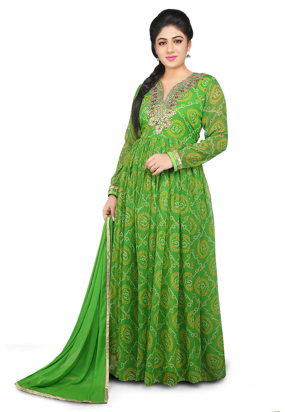 Gota Patti Embroidered Georgette Abaya Style Suit in Green
