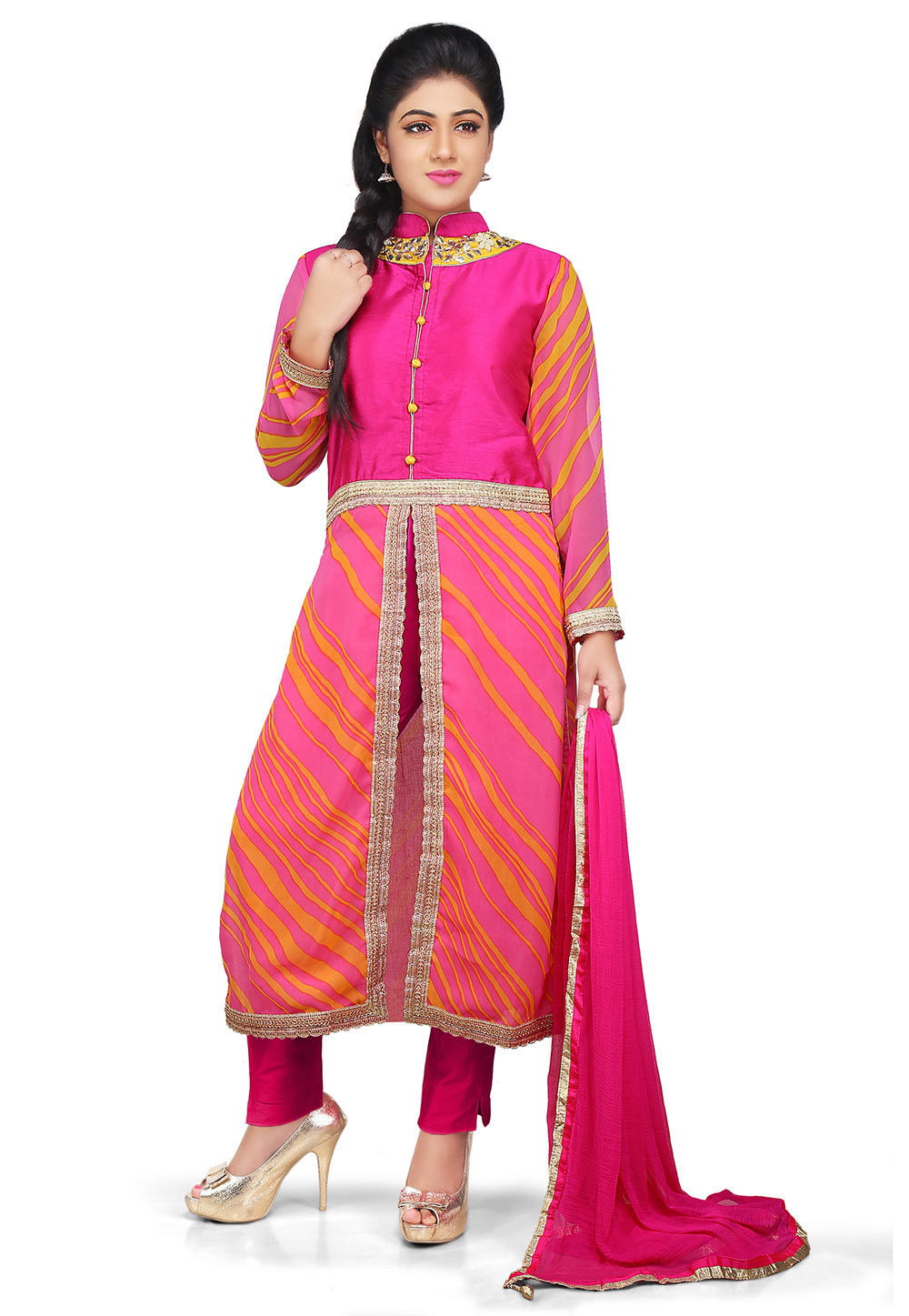 Printed Georgette Front Slit A Line Suit in Pink