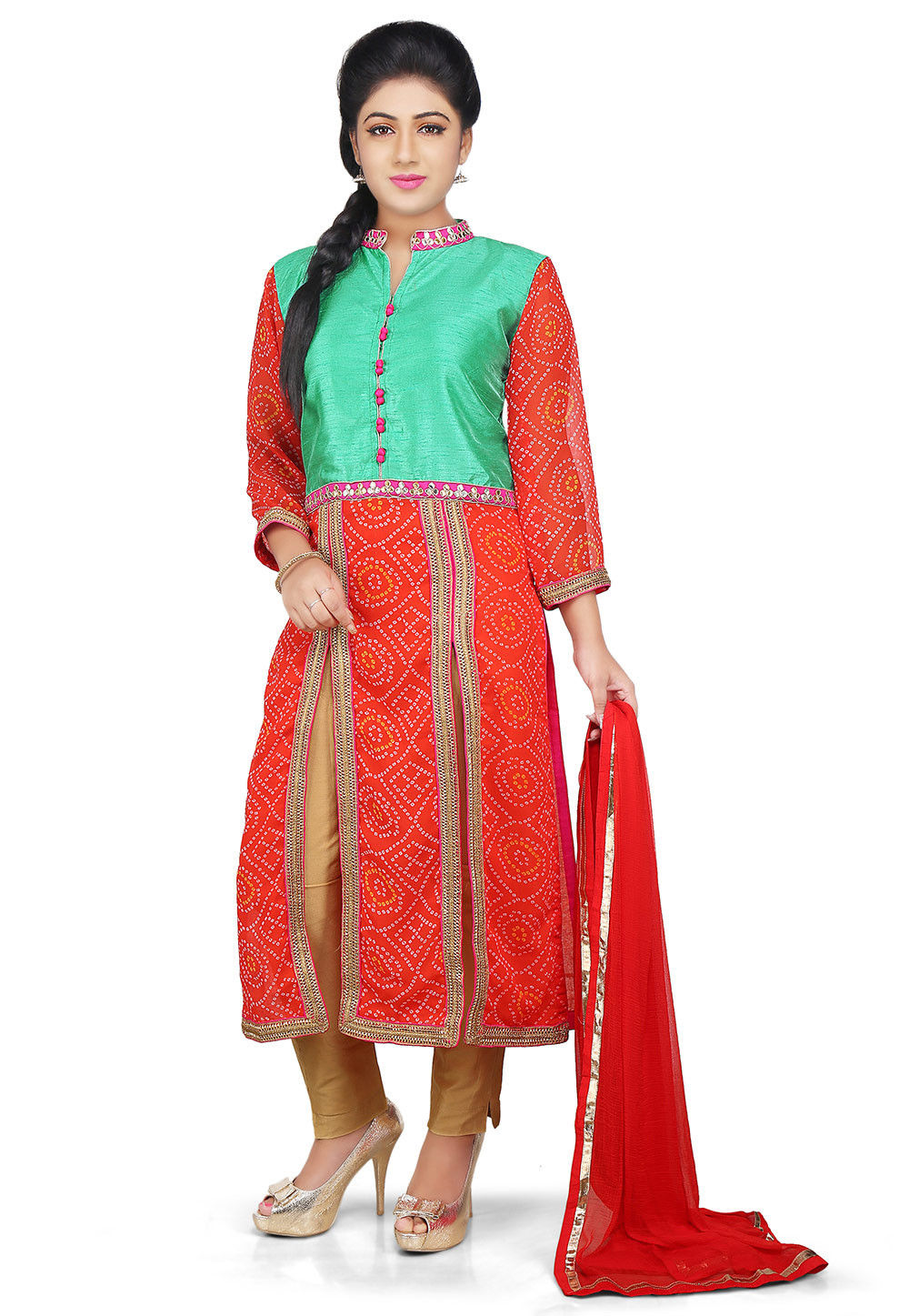 Printed Georgette Front Slit Straight Cut Suit in Orange and Green