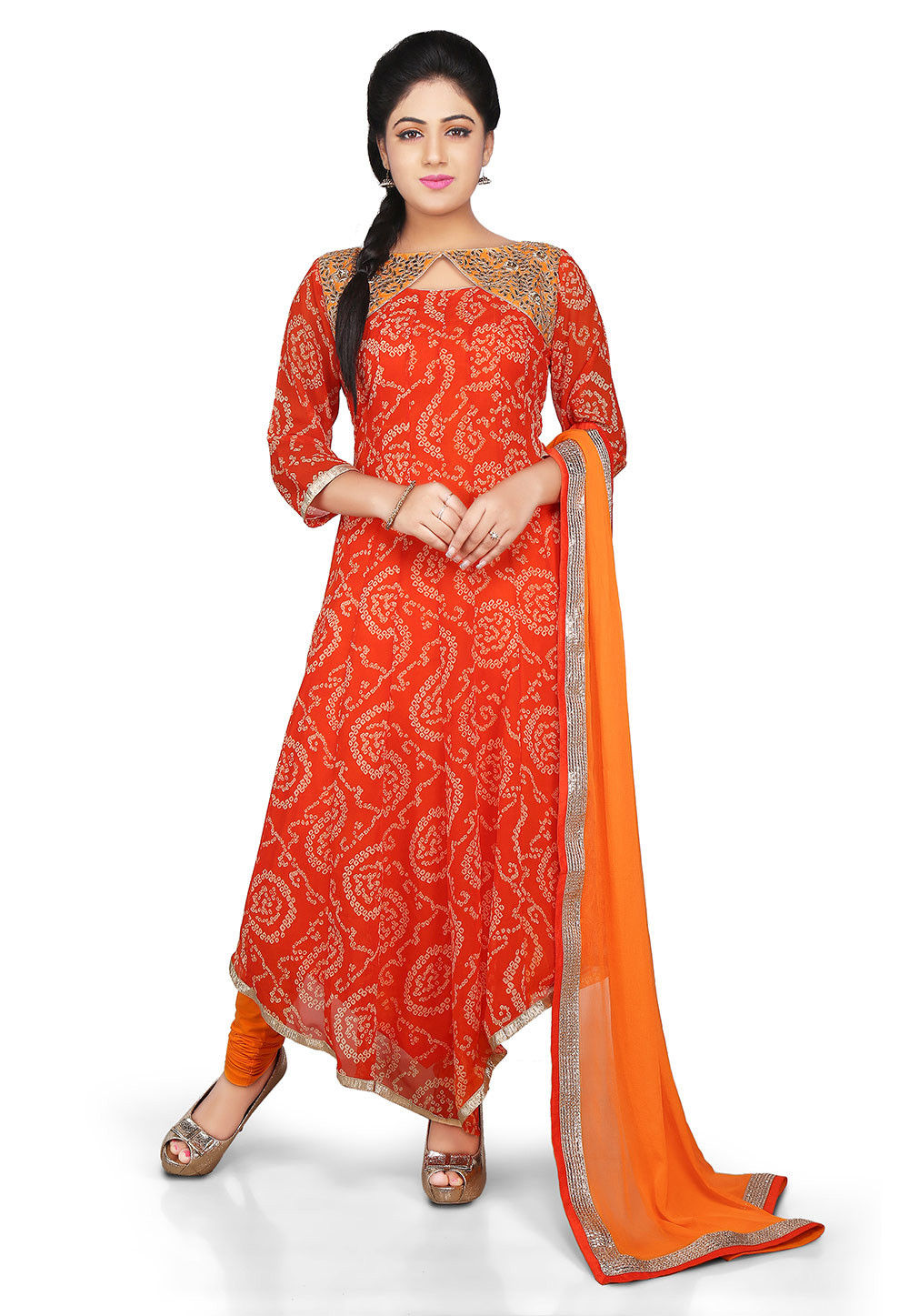 Printed Georgette Asymmetric Anarkali Suit in Orange
