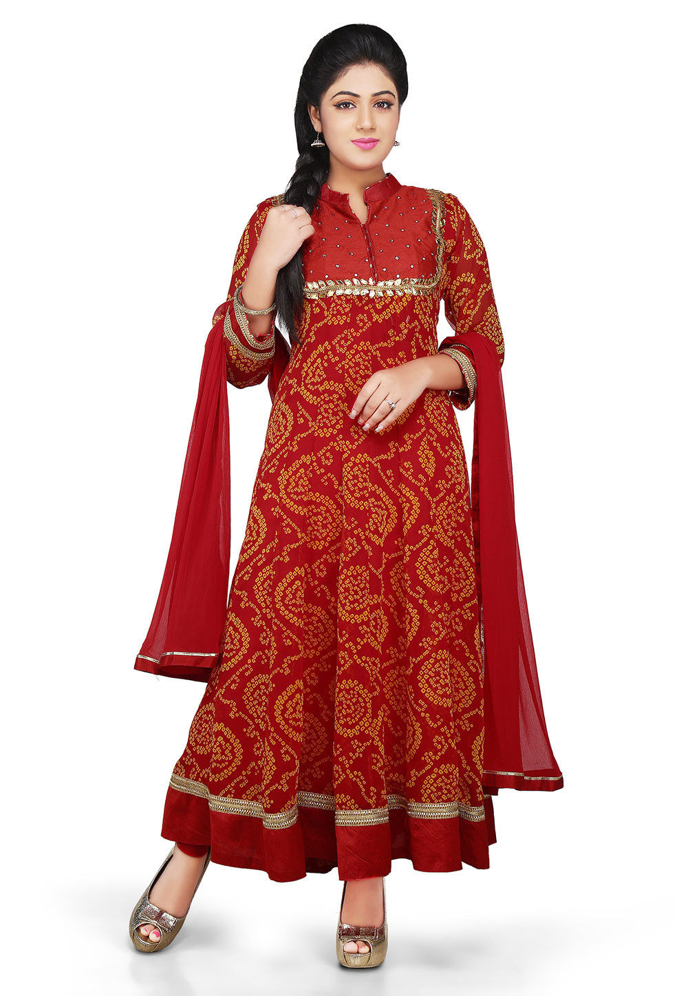 Printed Georgette Abaya Style Suit in Red
