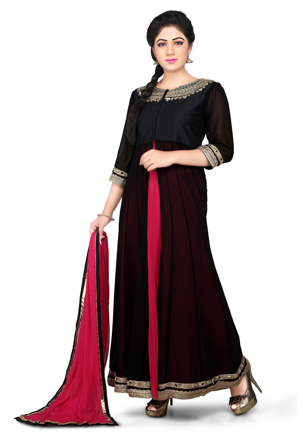 Embroidered Georgette Jacket Style Abaya Style Suit in Black