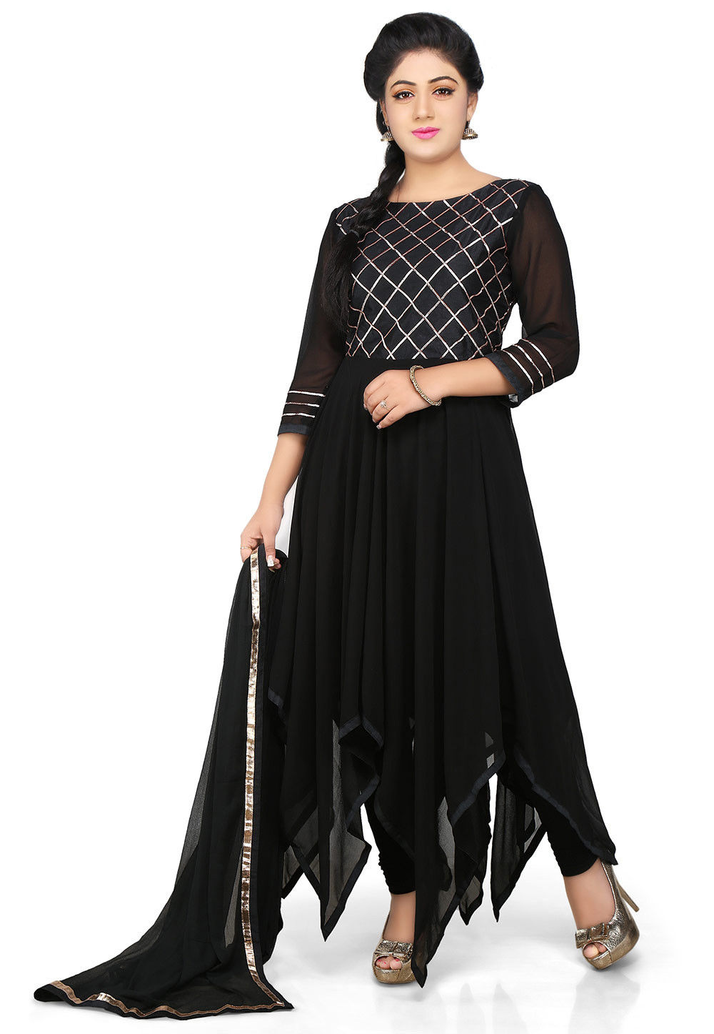 Embroidered Georgette Asymmetric Anarkali Suit in Black