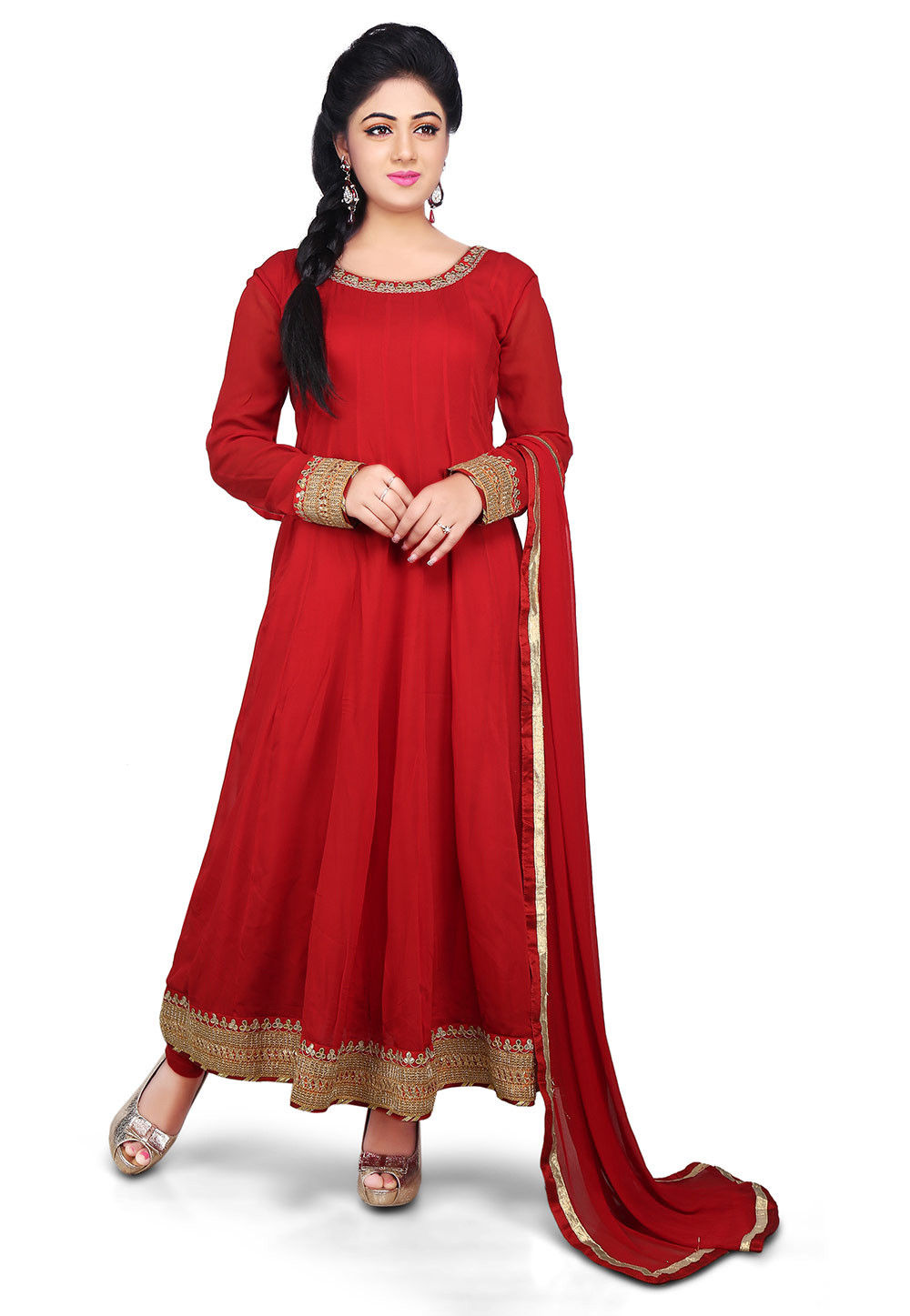 Plain Georgette Anarkali Suit in Red