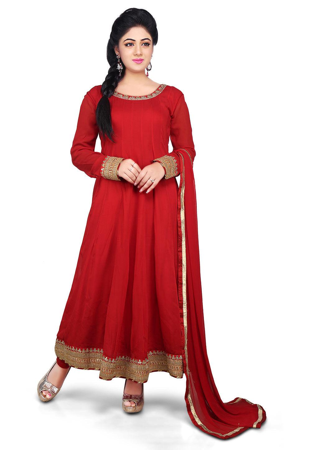 0221732925 Plain Georgette Anarkali Suit in Red : KJN1882
