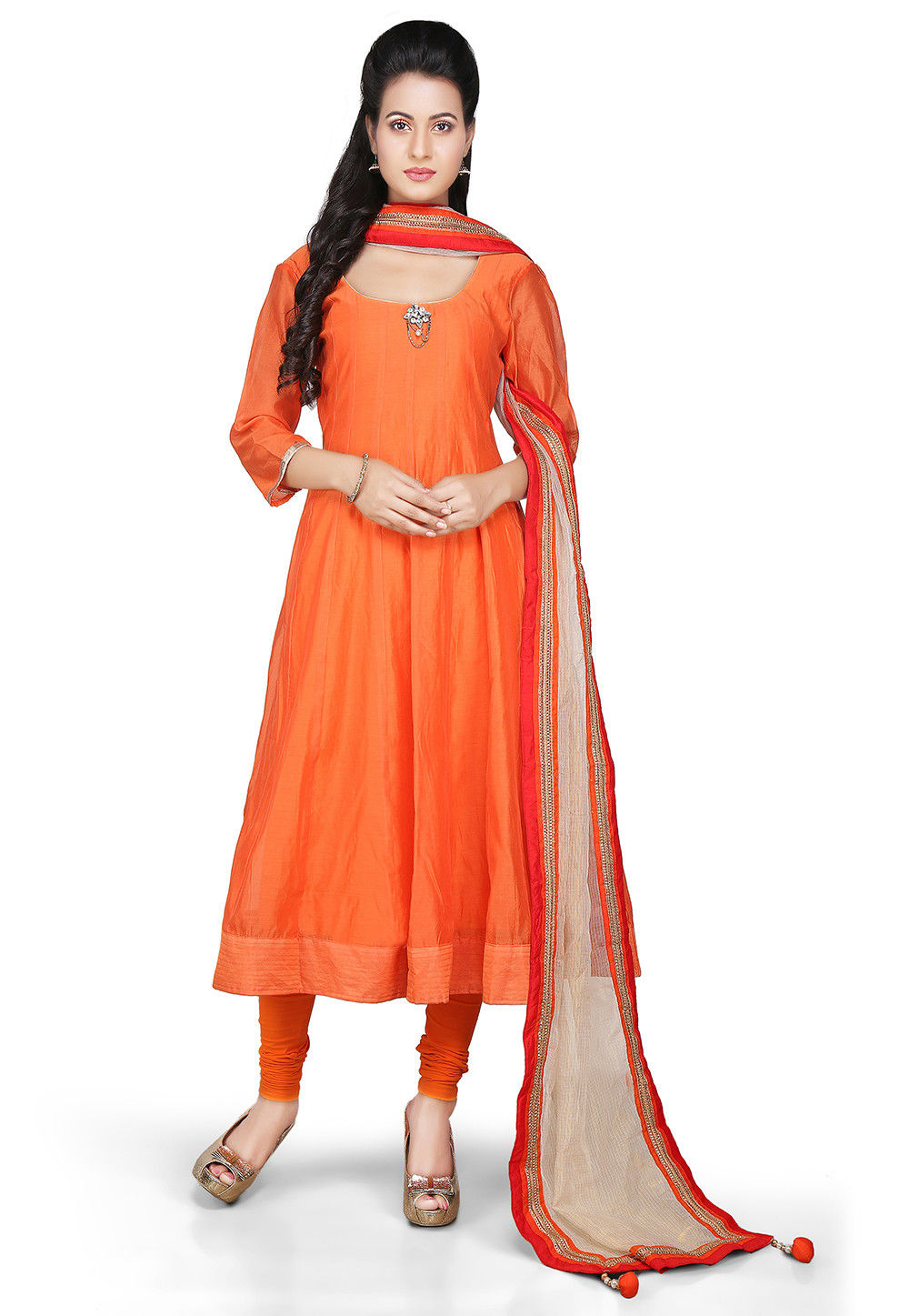 Plain Chanderi Silk Anarkali Suit in Orange