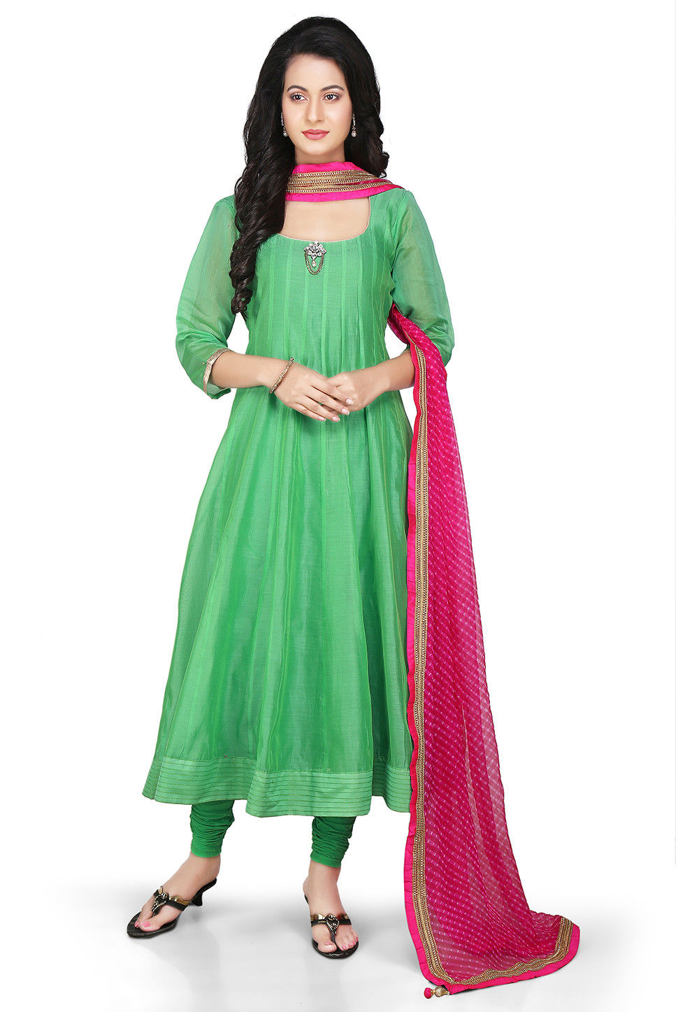 Plain Chanderi Silk Anarkali Suit in Green