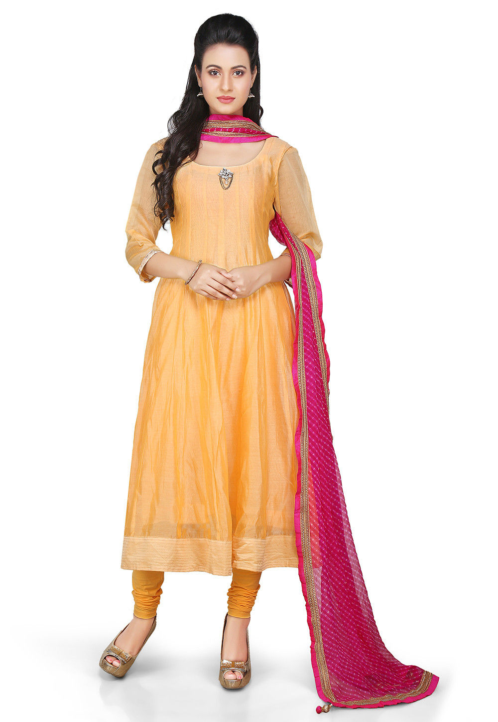 Plain Chanderi Silk Anarkali Suit in Mustard
