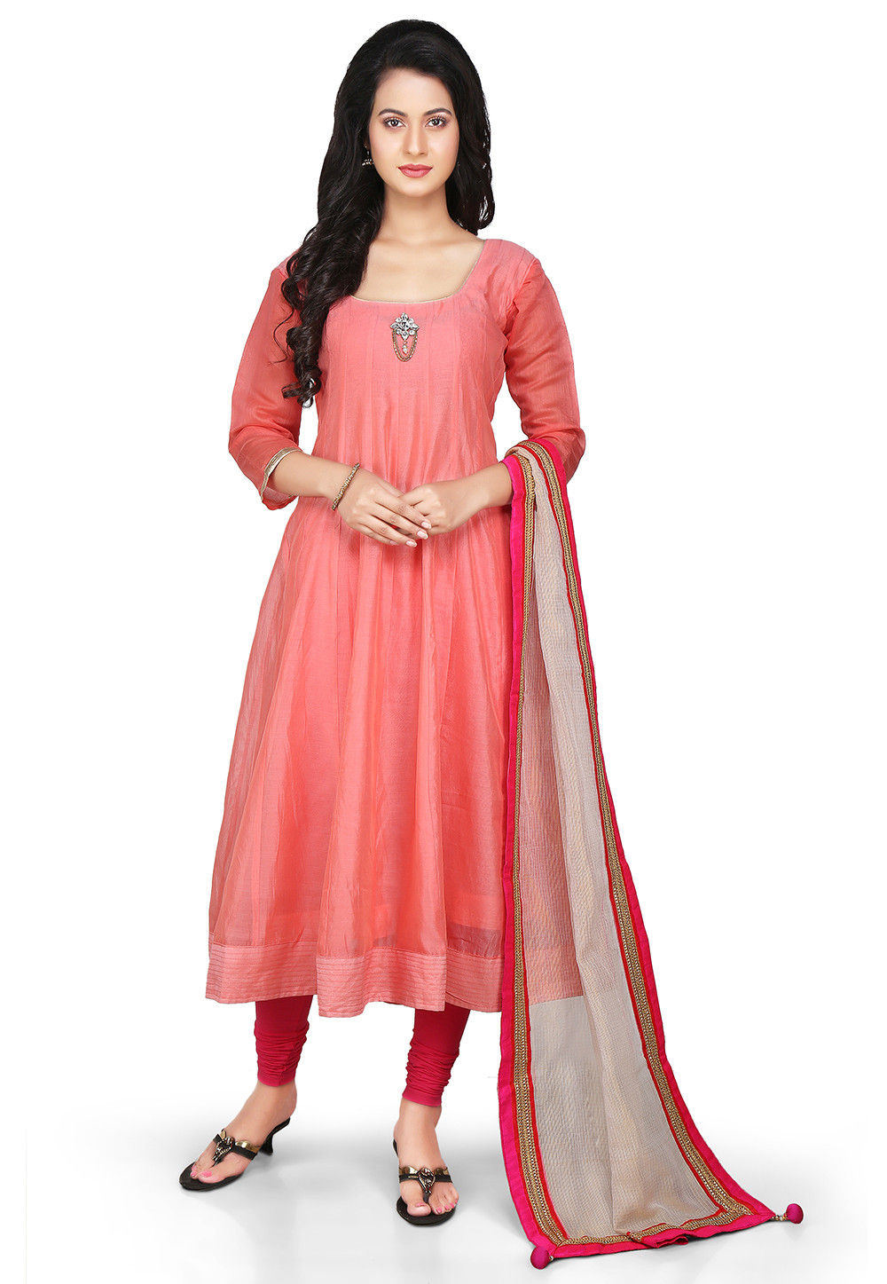 Plain Chanderi Silk Anarkali Suit in Peach