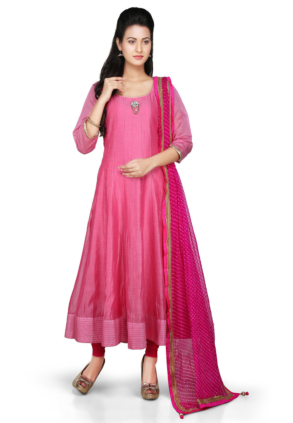 Plain Chanderi Silk Anarkali Suit in Pink