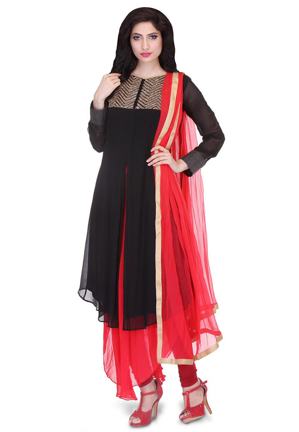 Embroidered Double Layered A Line Georgette Suit in Black