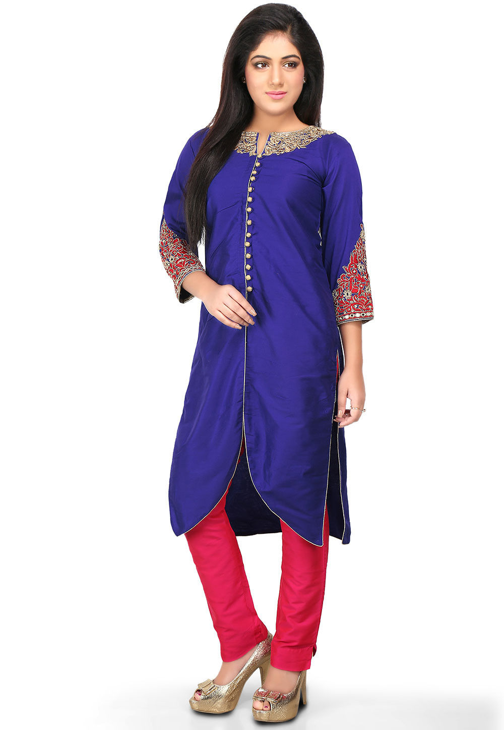 Embroidered Cotton Silk Front Slit Pakistani Suit in Royal Blue