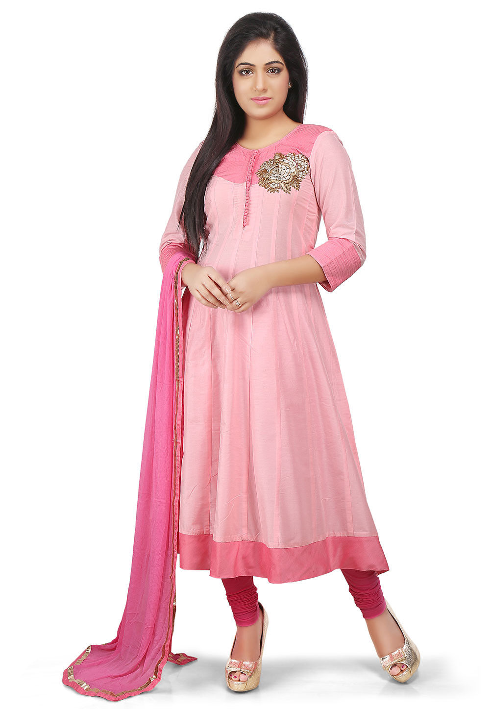 Plain Cotton Silk Anarkali Suit in Pink