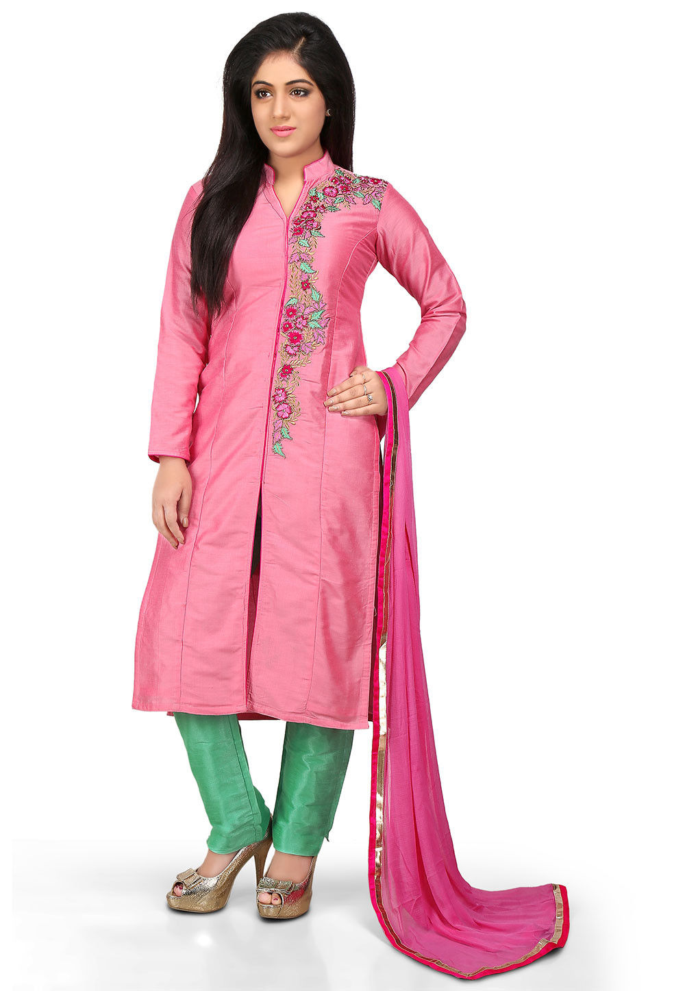 Embroidered Cotton Silk Front Slit Pakistani Suit in Pink
