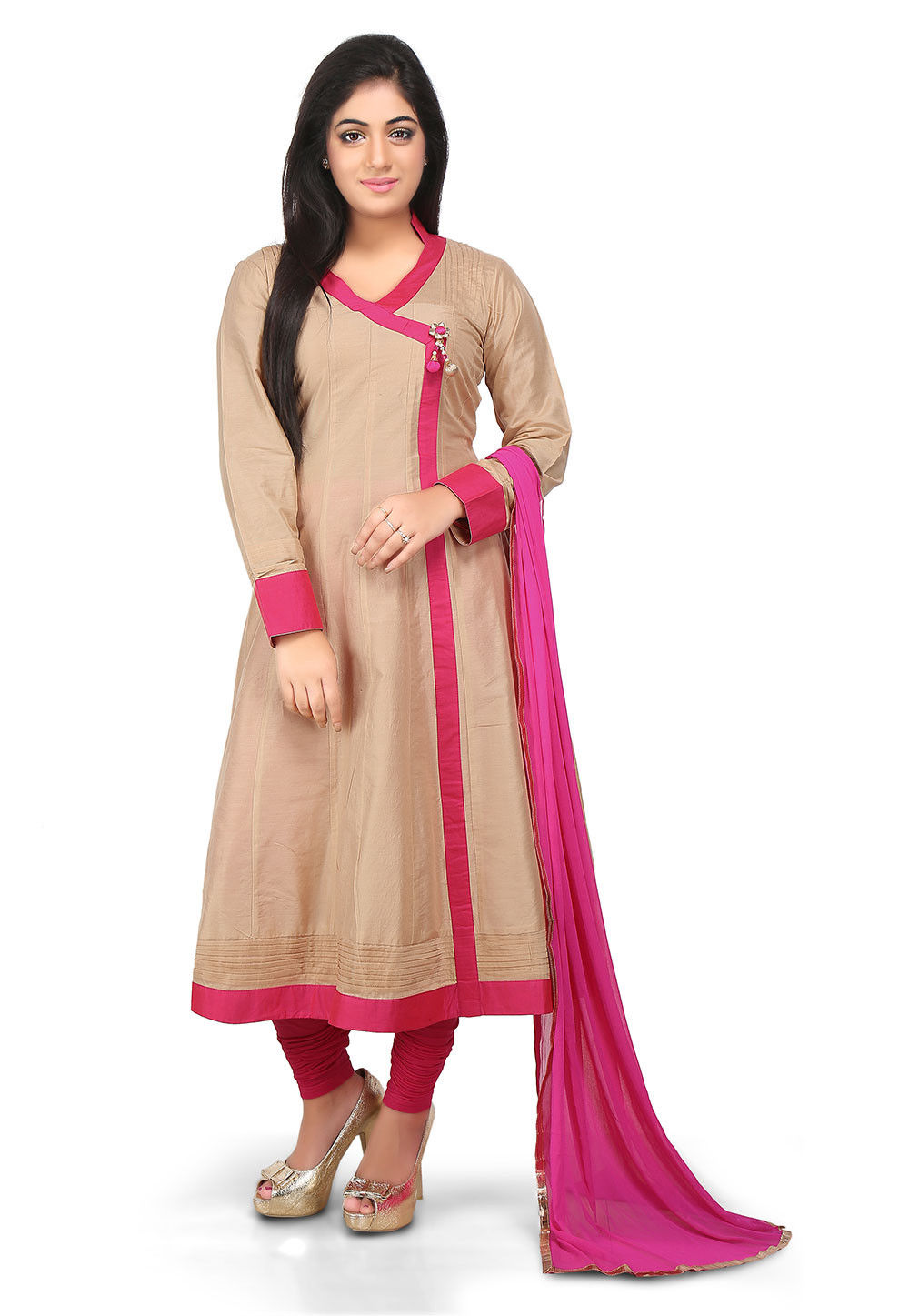 Plain Cotton Silk Angrakha Style Anarkali Suit in Beige